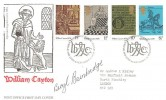 1976 William Caxton, Post Office FDC, First Day of Issue Philatelic Bureau Edinburgh H/S, Signed by Novelist Beryl Bainbridge