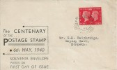 1940, Postage Stamp Centenary, Souvenir Display FDC, 1d stamp Value only, Pembury Tunbridge Wells cds