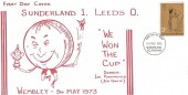 1973, County Cricket  Centenary, Sunderland v Leeds FA Cup Final FDC, 3p Cricket Stamp only, Sunderland Co.Durham FDI