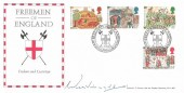 1986 Medieval Life, Bradbury Official FDC, Freemen of England Oswestry H/S, Signed by His Grace Duke of Westminster