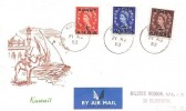 1953 QEII Wildings Overprinted Kuwait ½, 1, 2 Anna values, Illustrated Kuwait FDC, Kuwait cds