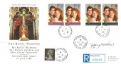 1986 Royal Wedding, Registered Royal Mail FDC, Princetown Yelverton Devon cds, Signed by Jeffrey Matthews Stamp Designer