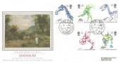 1991 Dinosaurs, Presentation Philatelic Silk No.71 FDC, Lyme Regis Dorset cds