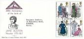 1975 Jane Austen, North Herts. Stamp Club FDC, Stevenage Herts. FDI