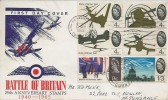 1965 Battle of Britain, Illustrated FDC, 4x4d, 9d & 1/3d stamps only. Penzance Cancel & cds