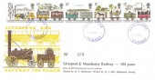 1980 Liverpool & Manchester Railway, D P Hathaway FDC, Purple Haslemere Surrey cds