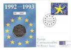 1992 Single European Market Royal Mint Llantrisant Official 50p Coin FDC, Commemorative 50 Pence Issue Europe Royal Mint Llantrisant, Pontyclun Mid Glamorgan H/S