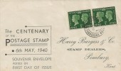 1940 Postage Stamp Centenary, Harry Burgess & Co Stamp Dealers FDC, Pembury Tunbridge Wells cds