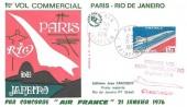 1976 Concorde Air France  First Commercial Flight Paris - Rio De Janeiro Cover, Paris Aviation cds
