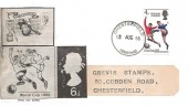 1966 England World Cup Winner, Handmade Illustrated FDC, Chesterfield Derbyshire cds