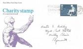 1975 Charity, Post Office FDC, Remember to Use the Post Code Slogan Tavistock Devon