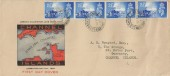 1948 Channel Islands Liberation, Long Version Illustrated FDC, 4 x 2½d stamps, Guernsey Ch. Is. cds