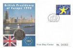 1992 Single European Market, Illustrated 50p Coin FDC, British Presidency The Europe Community Downing Street London SWI H/S