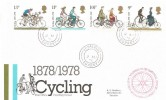 1978 Cycling Centenary, Post Office FDC, Godalming Surrey cds + National Cyclists' Touring National Office Cachet