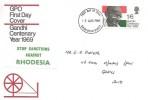 1969 Gandhi, GPO FDC, Basildon Essex FDI + Stop Sanctions Against Rhodesia Label