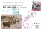 1994 D Day, HMS Fearless FDC, 25p Gold Beach Landings stamp only, 50th Anniversary of D Day Gold Beach British Forces 2417 Postal Service H/S