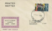 1965 Salvation Army, Illustrated FDC, 3p Ordinary stamp only, London EC FDI