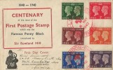 1940 Postage Stamp Centenary, Jennings Printers South Shields FDC, Stamp Centenary Exhibition (Red Cross) London H/S
