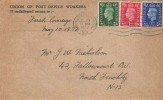 1937 King George VI ½d, 1d, 2½d Definitive Issue, Union of Post Office Workers FDC, Church End Finchley N3 Cancel