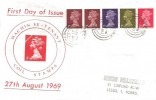 1969 QEII 1s Se-tenant Stamp Coil, Illustrated FDC, Leeds 47 cds