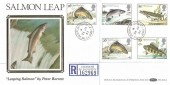 1983 British River Fish, Registered Benham BLS1A FDC, The Salmon Leap Coleraine Co.Derry cds