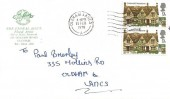 1970 British Rural Architecture, The Floral Bowl FDC, 2x9d Welsh Stucco Stamp only, Oldham Lancs. Cancel