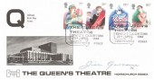 1982 British Theatre, Havering No.25 Official FDC, The Queen's Theatre  Stamp Exhibition Hornchurch Essex H/S, Signed by Jill Gascoine Actress & Novelist