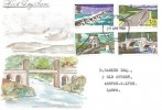 1968 British Bridges, Hand Painted FDC of the Menai Bridge, Manchester FDI