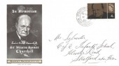 1965 Sir Winston Churchill, Chickering Jackson FDC, 4d stamp only Stratford Upon Avon Warwickshire cds