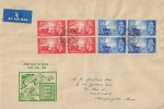 1948 Channel Islands Liberation, Large Illustrated FDC, Blocks of 4 stamps, St. Peter Port Guernsey cds