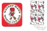 1966 England World Cup Winners, Block of 4, Homemade cover with a Watney Mann World Cup Ale Beer Mat FDC, Harrow & Wembley FDI