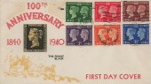1940 Postage Stamp Centenary, 100th Anniversary The Penny Black Illustrated FDC, London WC Cancel & London WC cds