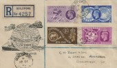 1949 Universal Postal Union, Registered Illustrated Globe FDC, Guildford Surrey cds