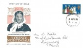 1970 General Anniversaries, Gemini 150th Anniversary of the Birth of Florence Nightingale FDC, 9d Stamp only, Ringwood Hants cds