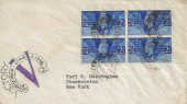 1946 Victory, Pair of Illustrated First Day Covers, Margin blocks of 4, Marple Stockport Cheshire cds