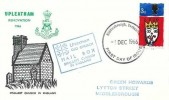 1966 Christmas, Upleatham Renovation FDC, 3d Stamp only, Middlesbrough Yorkshire FDI, Upleatham Old Church Mail Box Smallest Church in England Cachet