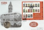 2001 Buses Miniature Sheet on Official Westminster Coin FDC
