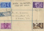1948 Olympic Games, Registered XIVth Olympiad FDC, Gravelly Hill Erdington Birmingham cds