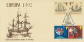 1992 Europa, Stan Muscroft Official FDC, Captain Cook's Endeavour Salutes Europe's Tall Ships Whitby North Yorks. H/S