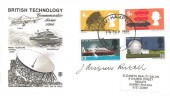 1966 British Technology, Stuart FDC, Southampton FDI, signed by Andrew Restall, stamp designer of the 1/3d & 1/6d stamps