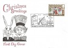 1973 Christmas, 3½p stamp only, Historic Relics FDC, 141st Anniversary of the Birth of Lewis Carroll Daresbury Warrington H/S