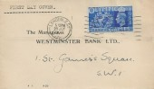 1948 Olympic Games, Westminster Bank Ltd FDC, 2½d stamp only, London EC Cancel