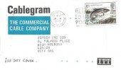 1983 British River Fish, Cablegram FDC, 15½p Salmon stamp only, Remember to use the Post Code London EC Slogan