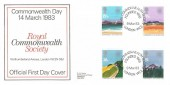 1983 Commonwealth Day, D G Taylor Official FDC, Royal Commonwealth Society Founded 1868 London WC2 H/S