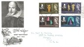 1964 Shakespeare Festival, Illustrated FDC, Phosphor set, Southampton T Cancel