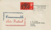 1965 Commonwealth Arts Festival, Illustrated FDC, 6d stamp only, Commonwealth Arts Festival Liverpool Sept 17 - Oct 2 Slogan