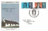 1966 Robert Burns, GPO FDC, The Friend of Man - To Vice Alone Afoe Dumfries H/S