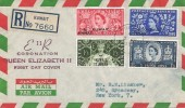 1953 Coronation Kuwait Overprinted, Registered Illustrated Air Letter FDC, Kuwait cds