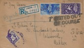 1946 Victory, Registered Plain FDC, London Don't Waste Bread Others Need it Slogan, with Posted out of Course Cachet & surcharged 3d