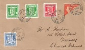 1941 Guernsey Arms Issues, Plain FDC, All 3 values ½d pair, 1d, 2½d, also with 2d Centenary Bi-sect, Ville Au Roi Guernsey cds